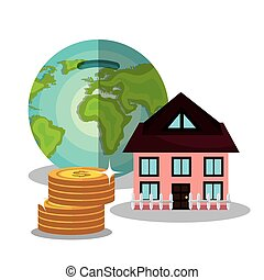 Money savings and investments graphic design, vector...