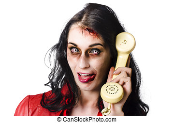 Bad news phone call - Portrait of a spooky female zombie...