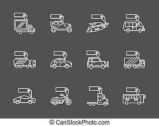 Sale of transport white line vector icons set