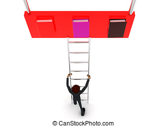 3d man climb ladder to reach files books concept on white...