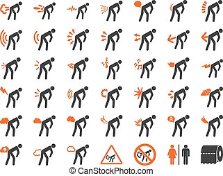 Stink Patients Icon Set - Fart people vector icon set. Style...