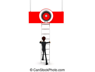 3d man climb ladder to reach loud speaker concept on white...