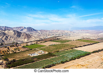 Nazca, Peru Landscape - Aerial view of farms and desert...