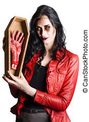 zombi, mujer, con, ataúd, y, separado, mano,