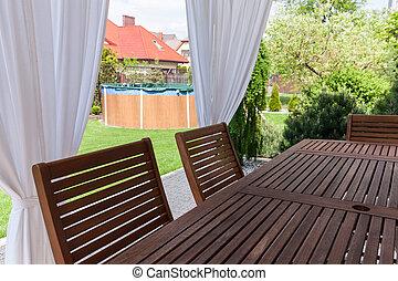 ajardinado, jardín, de, Diseñado, casa,