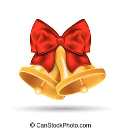 Golden bells with red bow on white background.