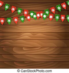 Bunting flag on wooden background. Vector illustration.
