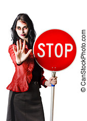 Dead end concept - Zombie woman with red stop sign, dead end...