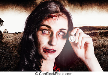 Infected woman searching field during zombie apocalypse -...