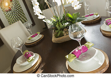 Abstract of Dining Table with Place Settings - Beautiful...