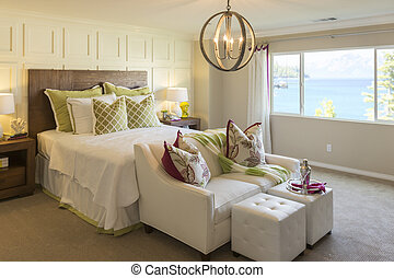 Beautiful Inviting Bedroom Interior - Beautiful Abstract of...