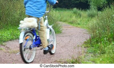 boy and man riding bicycles in park, from camera