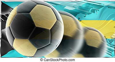 Flag of Bahamas wavy soccer