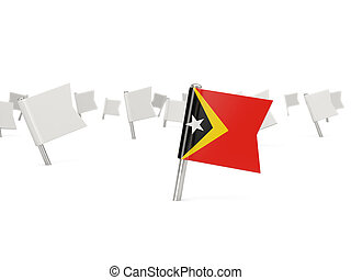 Square pin with flag of east timor isolated on white