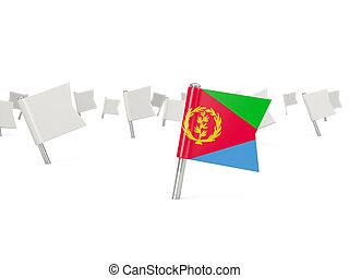 Square pin with flag of eritrea isolated on white