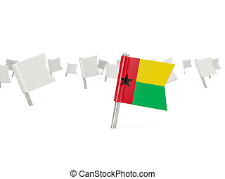 Square pin with flag of guinea bissau isolated on white