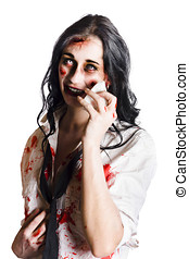 Zombie woman distressed - Young distressed zombie...