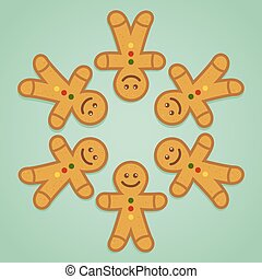 Ginger Bread Man Holding Hands in Circle - Ginger bread man...