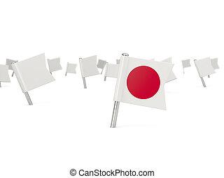 quadrado, alfinete, com, bandeira, de, Japão,