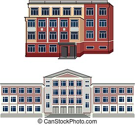 Set with two vector illustration of buildings