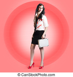 Halloween business girl with dead end job - Portrait of...