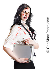 Isolated zombie businesswoman on white - Smiling zombie...