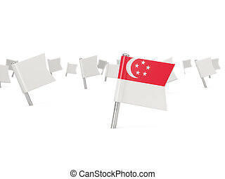 Square pin with flag of singapore isolated on white