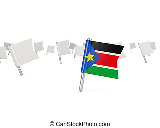 Square pin with flag of south sudan isolated on white