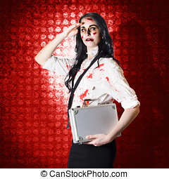 Zombie business woman in red alert emergency - Troubled...
