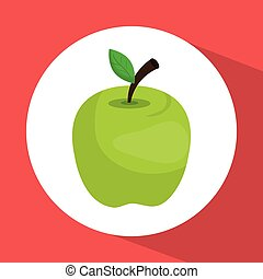 green apple fruit graphic design with icons, vector...