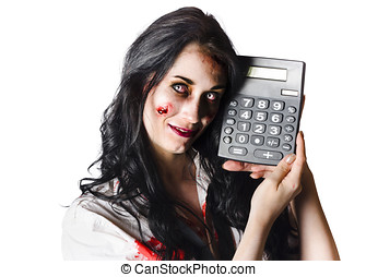 Zombie finance worker with calculator - Happy zombie...