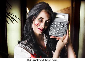 Female devil business woman showing profits - Concept image...