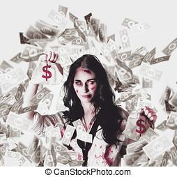 Dead business woman in financial crisis debt - Zombie...
