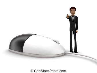 3d man with computer wired mouse concept