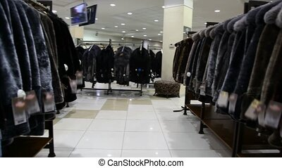 panorama of fur coat shop