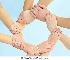 Ring of hands teamwork showing your product