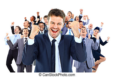 large business team celebrating success with arms raised...