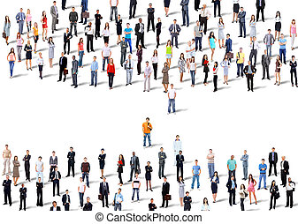 Two groups of business people Isolated over white background...