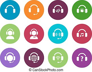 Headset circle icons on white background. Vector...