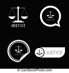 justice vector icon black and white color