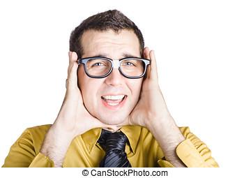 Businessman with headache - Portrait of worried businessman...