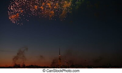 Salute, Fireworks In The Night Sky - Spectacular salute,...