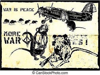 more war, rats - hand drawn vector - War Experience, Airport...