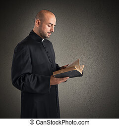 Text of the Bible - Man priest reads the bible sacred text