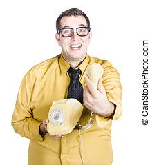 Excited man handing over telephone - An excited nerdy man in...