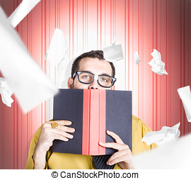 Businessman studying stats and data statistics - Male...