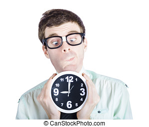 Funny businessman holding clock at rush hour time - Isolated...