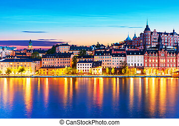 Evening scenery of the Old Town in Stockholm, Sweden