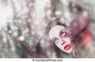 Fine art woman in light of spiritual awakening - Colourful...