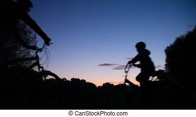 boy and man riding bicycles in park, sunset in background